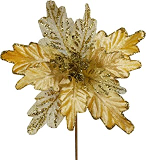 """6 Pcs Christmas Gold Glitter Metallic Sheer Mesh Sequins and Damask Weave Poinsettia Flowers Picks Tree Ornaments 8"""" W for..."""