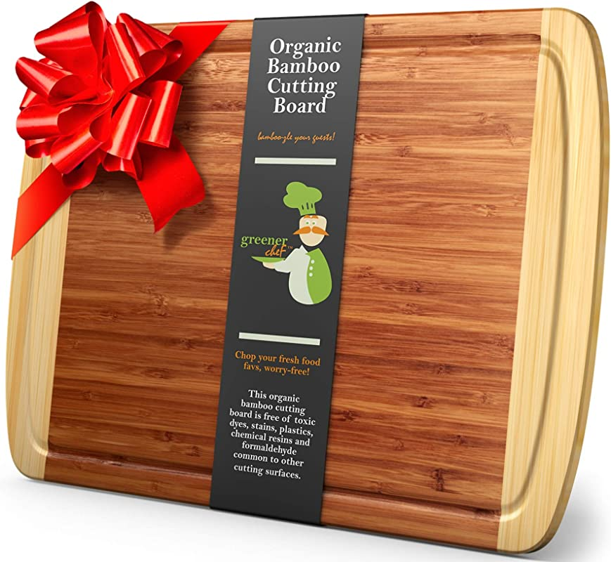 Greener Chef Extra Large Bamboo Cutting Board Lifetime Replacement Cutting Boards For Kitchen 18 X 12 5 Inch Organic Wood Butcher Block And Wooden Carving Board For Meat And Chopping Vegetables