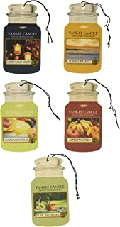 Yankee Candle Classic Paper Car Jar Hanging Air Freshener Assorted Variety- 5 pack