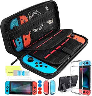 Th-some Kit de Accesorios 14 en 1 para Nintendo Switch, Funda Protectora para Interruptor Nintendo, Cubierta Transparente para Interruptor, Protector de Pantalla, Tapas Empuñadura de Pulgar (Negro)