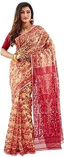 SareesofBengal Women's Cotton Silk Handloom Jamdani Dhakai Saree Yellow And Red