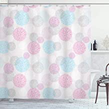 Ambesonne House Decor Collection, Circle Pattern and Composition Spots Geometric Ornamental Light Colors Image Print, Polyester Fabric Bathroom Shower Curtain, 84 Inches Extra Long, Pink Blue White