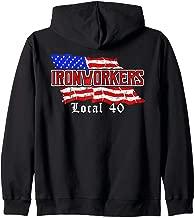 Ironworkers Local 40 NYC American Flag Patriotic  Zip Hoodie