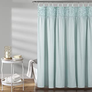 "Lush Decor Spa Blue, 72"" x 72"" Lydia Ruffle Shower Curtain,"