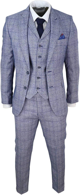 HARRY BROWN Mens Grey Blue 3 Piece Suit Herringbone Tweed Check Wedding Prom Formal