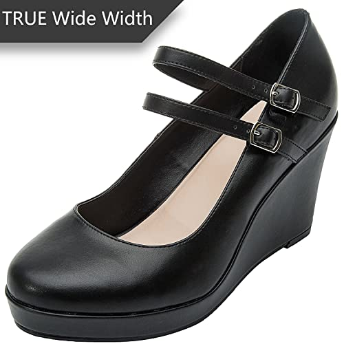 c6404d87804 Luoika Women s Wide Width Wedge Shoes - Mary Jane Ankle Buckle Double Strap  Round Closed Toe