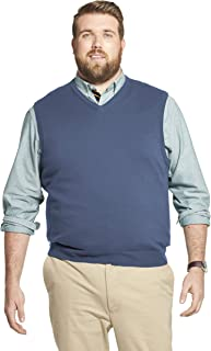 IZOD mens Big and Tall Premium Essentials Solid V-neck 12 Gauge Vest Pullover Sweater