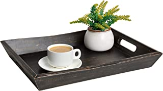 """EZDC Wooden Coffee Table Tray, Black/Brown 17 x 12"""" Decorative Ottoman Tray, Rustic Farmhouse Serving Tray With Handles for Tea & Liquor Display in Living Room - Pine Wood"""