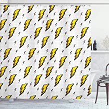 Ambesonne Vintage Decor Collection, Retro Flash Electric Icons with Chequer Funky Lines Weather Batman Boom Pop Art Comic, Polyester Fabric Bathroom Shower Curtain, 84 Inches Extra Long, White Yellow