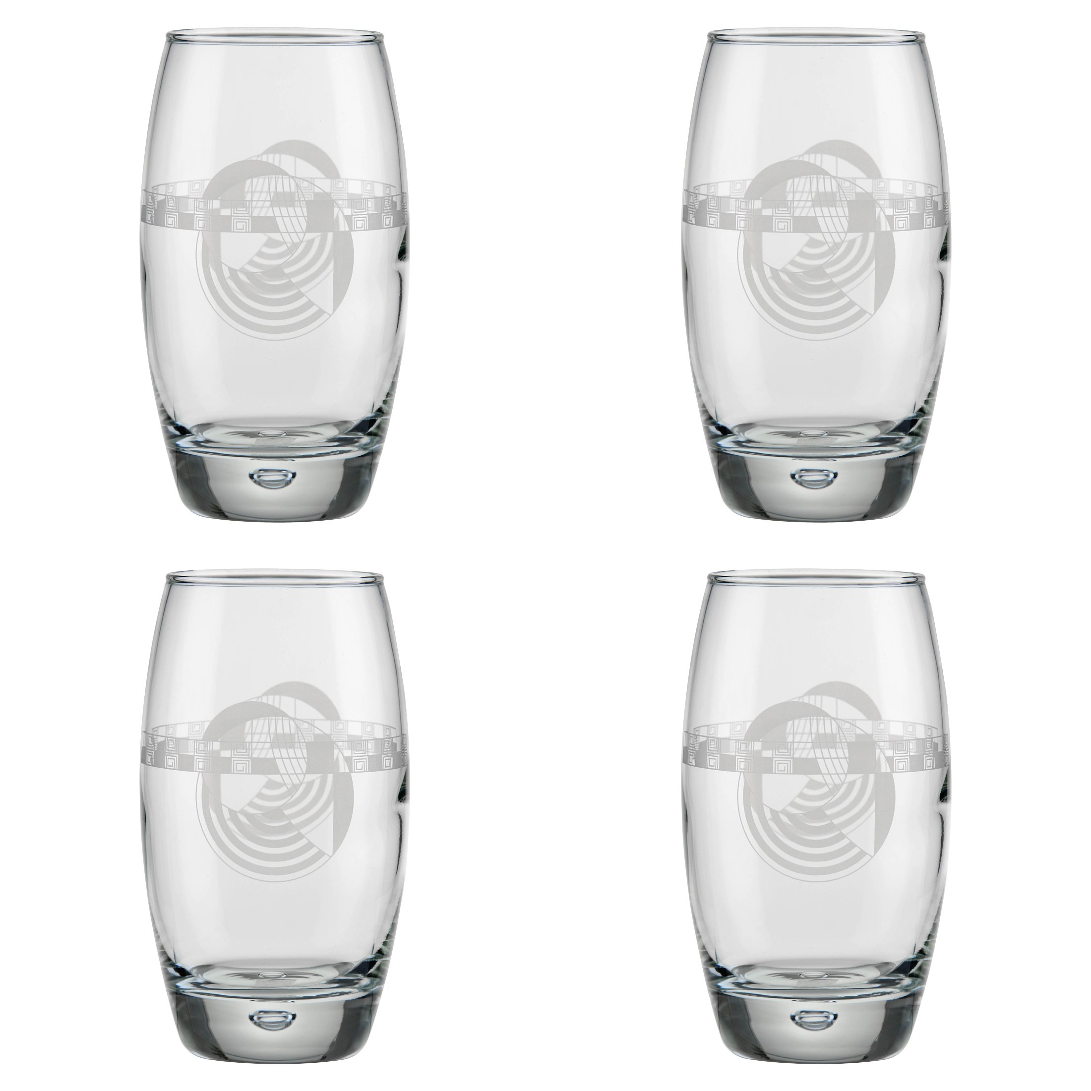 14.7 Ounce Set of 4 Limited Edition High Class Glassware Drinkware Barware Glass Highball Coolers//cups Circleware Ambition Glass Drinking Glasses Set