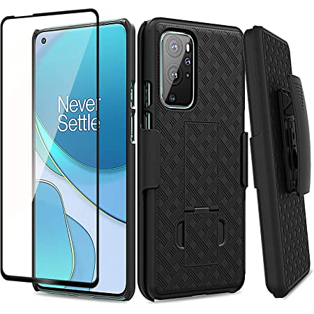 Ailiber Compatible with OnePlus 9 Pro Case Holster, OnePlus 9 Pro Screen Protector, Swivel Belt Clip Kickstand Holder,Slim Rugged Shell Protective Pouch 1+9 Pro Cover for One Plus 9Pro 5G 6.8in-Black
