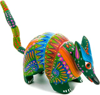 Green Armadillo Handcrafted Oaxacan Alebrije Wood Carving Mexican Folk Art Sculpture Painting