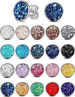 20 Pairs Round Stud Earrings Stainless Steel Druzy Studs Earrings Set Fits Women Girls