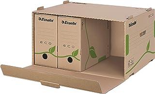 Esselte Boîte de Classement & Transport avec Couvercle et Ouverture par l'Avant, 100% Carton Recyclé, Brun Naturel, Eco, 6...