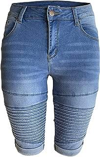 Womens Middle Rise Stretchy Denim Shorts Knee Length Curvy Bermuda Stretch Short Jeans