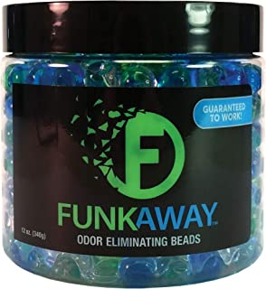 FunkAway Odor Eliminating Beads - Supercharged Odor Absorbing Beads for The House, Car, or Gym - Neutralize Smoke, Pet, and Bathroom Odors - 12 oz