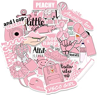 Pink Vsco Stickers for Hydro Flask[50pcs] Cute Decals for Water Bottle Laptop Phone Case Tumbler Car Computer Cup Folder P...