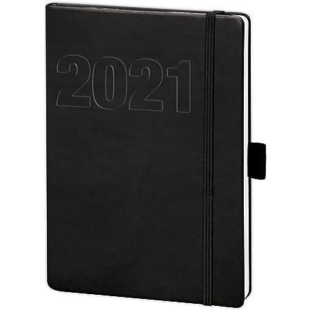 Buchkalender 2021 Terminplaner B/ürokalender Cheftimer Hardcover Schwarz DIN A5 332 Seiten
