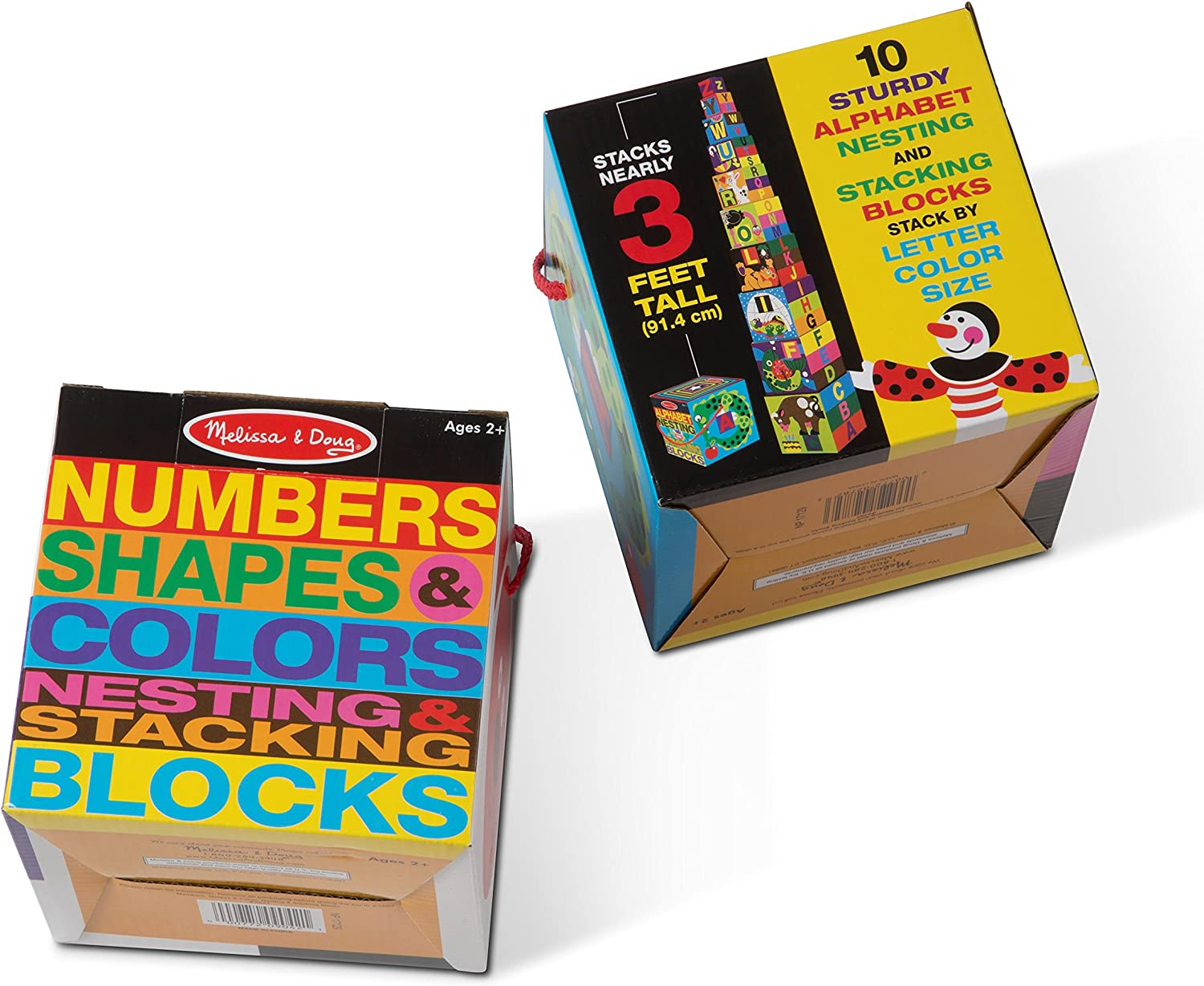 Melissa & Doug Nesting Blocks (Set of 2)  Alphabet & Numbers, Shapes & colors Stacking Toy
