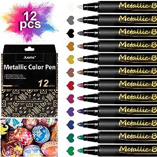 Metallic Marker Pens, 12 Colors Metallic Paint Pens Art Markers Set for Rocks Painting, Ceramic, Glass, Wood, Canvas, DIY Craft Making Supplies, Photo Album, Metal (Hard Medium Tip)