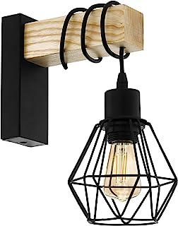 Aplique de pared TOWNSHEND 5, aplique de pared vintage con 1 bombilla en diseño industrial, lámpara retro de acero y madera, color: negro, marrón, casquillo: E27