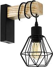 EGLO wandlamp TOWNSHEND 5, 1 lichtbron vintage wandarmatuur in industrieel ontwerp, retro lamp van staal en hout, kleur: z...