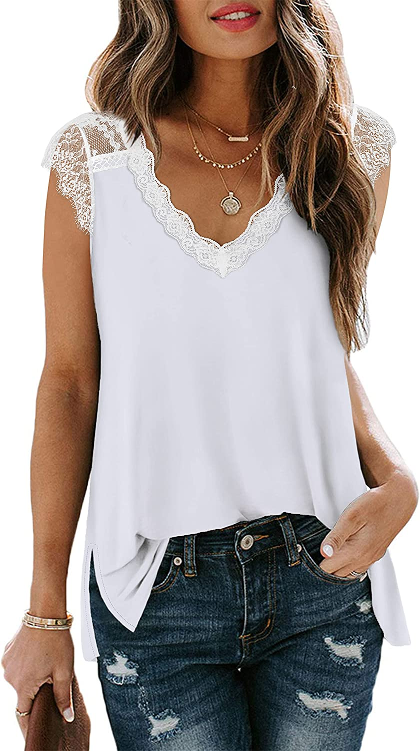 XIEERDUO Womens Lace Tank Tops for Summer V Neck Casual Sleeveless Shirts Loose Fitting