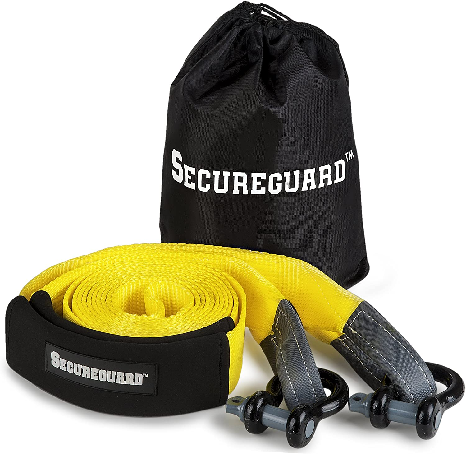 Secureguard Recovery Tow Strap - 20 Feet Long | Extra Heavy Duty