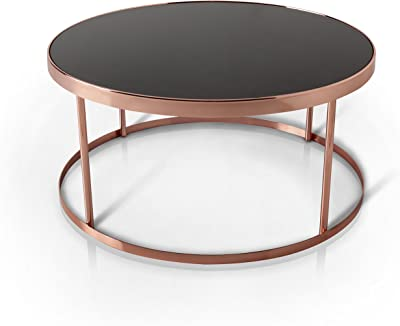 Furniture of America Cora Contemporary Black Glass Top Round Coffee Table, Rose Gold