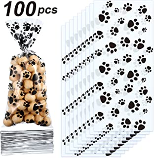 Blulu Pet Paw Print Cone Cellophane Bags Heat Sealable Treat Candy Bags Dog Gift Bags Cat Treat Bags with 100 Pieces Silve...