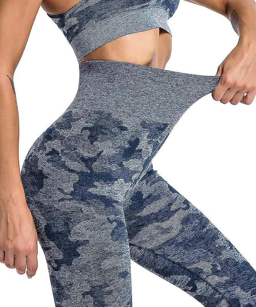 Yaavii Camo Seamless Leggings for Women High Waisted Full-Length Yoga Pants Workout Gym