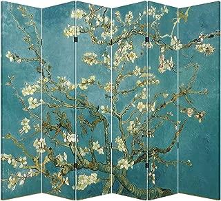 6 Panel (Original Teal Color) Wood Folding Screen Decorative Canvas Privacy Partition Room Divider - Vincent Van Gogh's Almond Blossoms