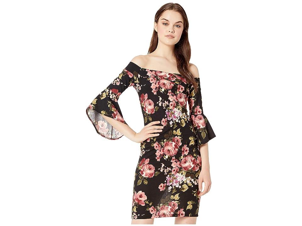 Bebe Off the Shoulder Bell Sleeve Dress (Black/Rose) Women