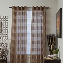 Lavish Home Sofia Grommet Single Curtain Panel, 108-Inch, Coffee