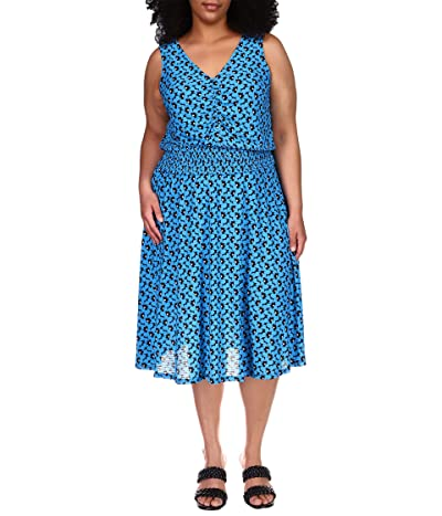 MICHAEL Michael Kors Plus Size Bicolor Seersucker Midi Dress Women