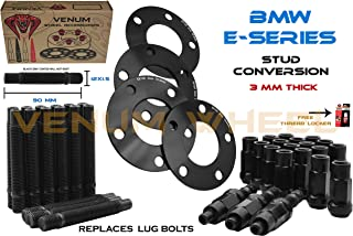 Black 12x1.5 Racing Stud Conversion 90 MM + Complete Set Of BMW 3 MM Black Wheel Spacers Works With OEM & Aftermarket Wheels Fits BMW Models E36 E46 E90 E92 E64 E23 E32 E38 E31 Free Fast Shipping