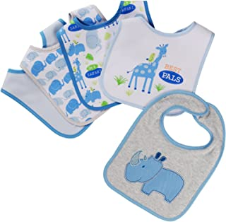 Buttons and Stitches 5 Piece Bibs, Rhino