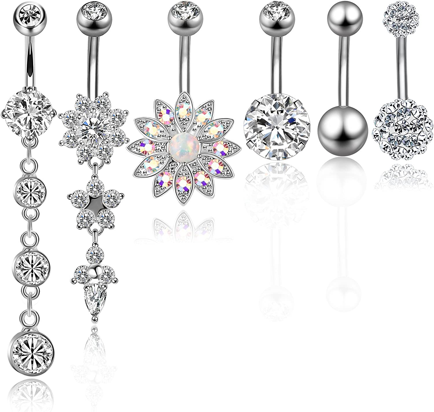 CABBE 6pcs Belly Button Rings Stainless Steel Dangle Navel Barbells Set 14G for Women Girls Body Piercing Jewelry