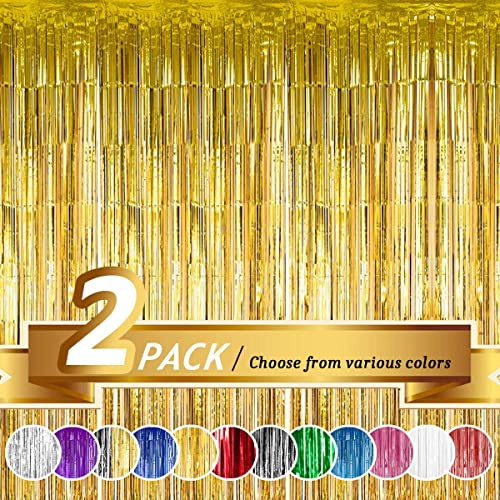 Gold Foil Fringe Curtain for Wedding Birthday and Special Festival Decoration(2 Pack, 3' x 8' ft)