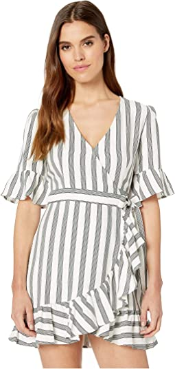 Flounce Sleeve Regancy Stripe Wrap Dress