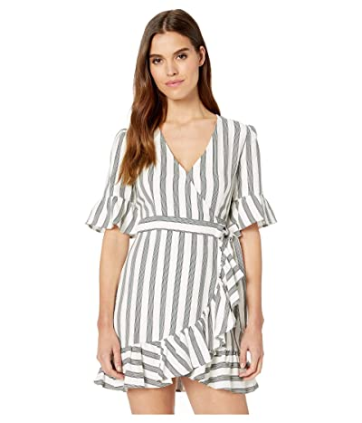 1.STATE Flounce Sleeve Regancy Stripe Wrap Dress (Sage Vine) Women