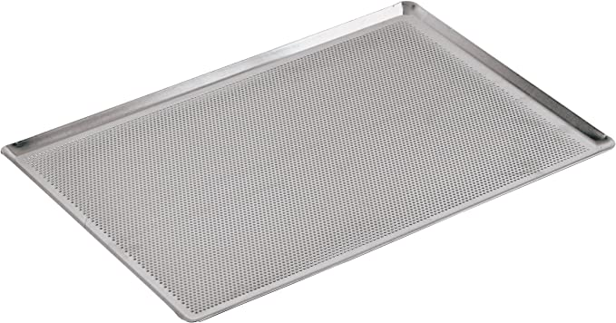 Paderno World Cuisine 15 3 4 Inch By 11 7 8 Inch Perforated Aluminum Baking Sheet With 45 Degree Angled Sides Kitchen Dining