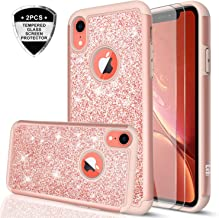 iPhone XR Case with Tempered Glass Screen Protector [2 Pack] for Girls Women, LeYi Glitter Bling Sparkle Cute Coral Protective Phone Cover Cases for Apple iPhone XR 10 10XR (6.1