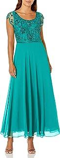J Kara Women's Plus Size Long Dress with Flutter Sleeve