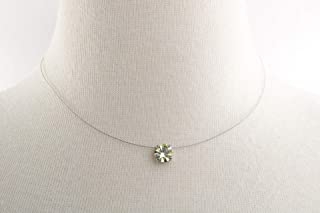 Solitaire Floating Jonquil Illusion Necklace, Genuine 8mm Diamond Cut Swarovski or Preciosa Crystal, Durable Illusion Wire Cord, Nickel Free Nickel Plated Setting, Three Sizes to Choose!