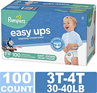 Pampers Easy Ups Training Pants Pull On Disposable Diapers for Boys,  Size 5 (3T-4T),  100Count,  Giant