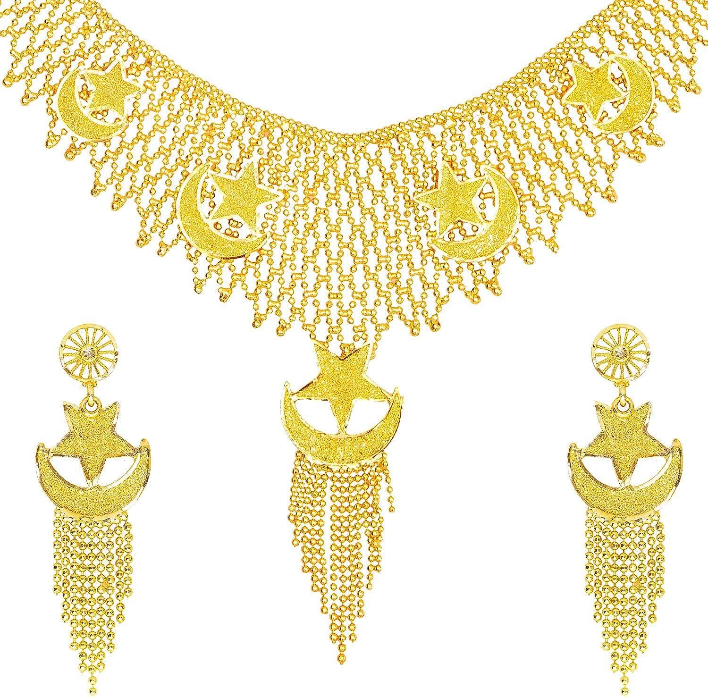 Bodha Traditional Gold Plated Designer Stylish Bridal Chand Tara Jewellery Necklace Set for Women (SJ_2947)