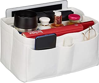 Relaxdays Taschenorganizer Handtasche, Filz, viele Fächer, entnehmbarer Trenner, Handtaschenorganisator, Größe M, weiß