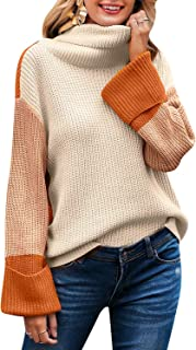 MsLure Women's Turtleneck Pullover Sweater Color Block Long Sleeve Knit Sweater Jumper
