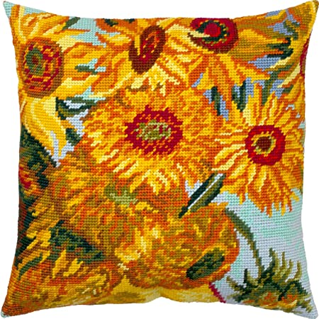 Printed Tapestry Canvas European Quality Throw Pillow 16/×16 Inches with Backing Blue Irises Needlepoint Kit